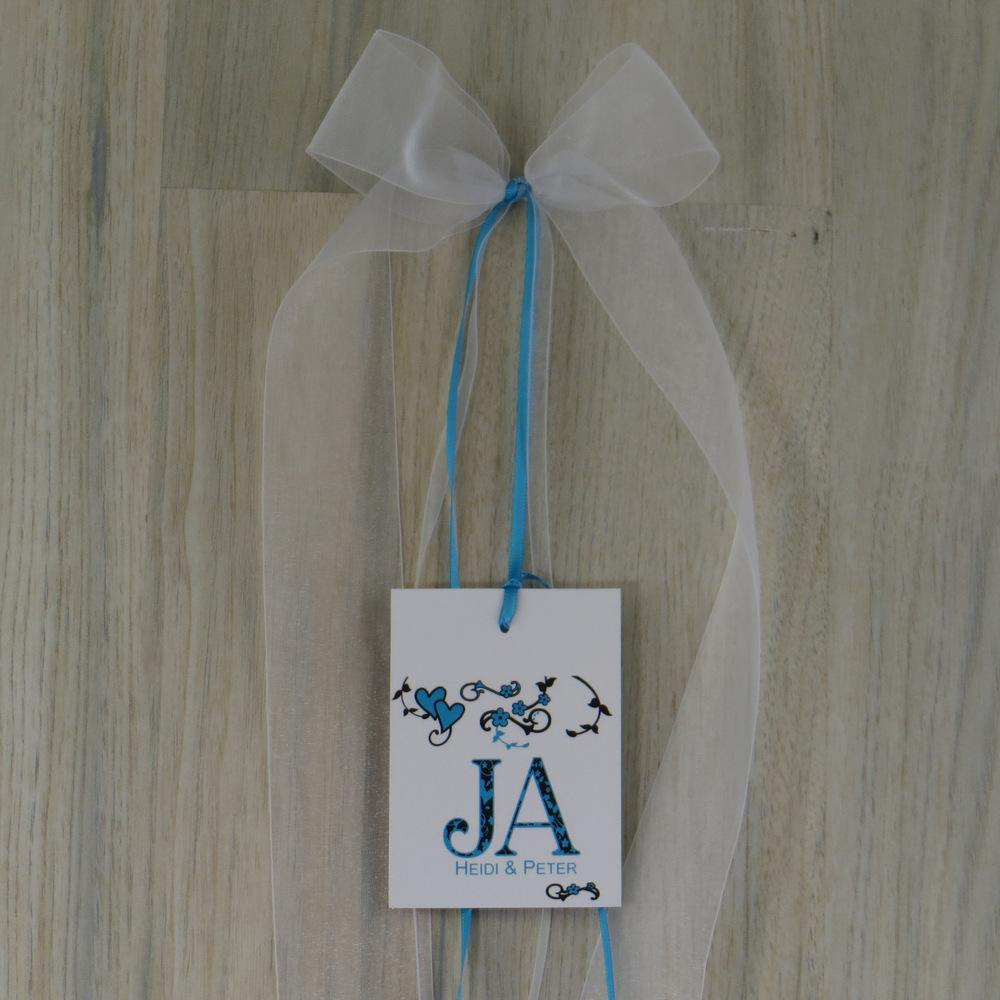 Autoschleife Blumenornament türkis