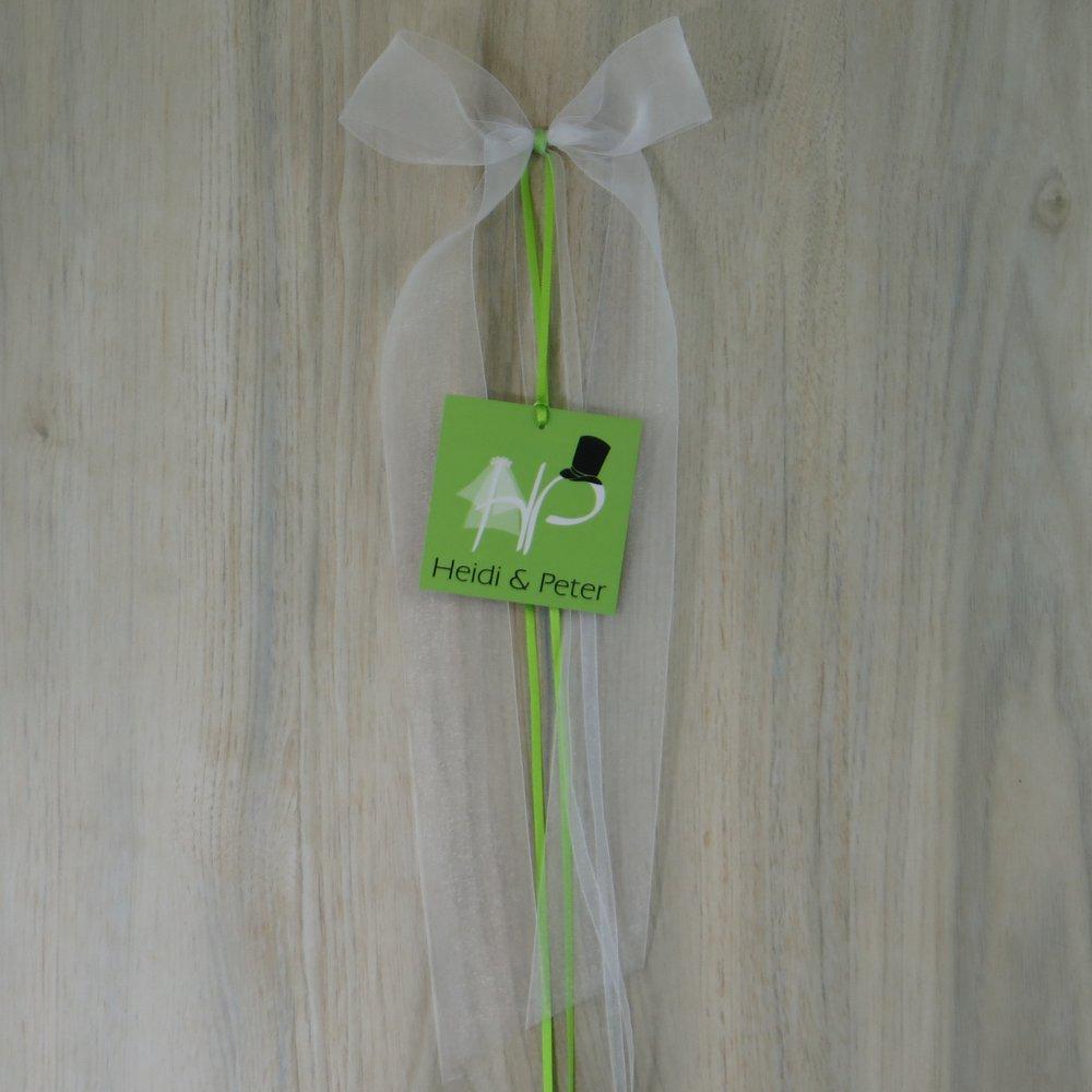 Autoschleife Brautpaar grün grün