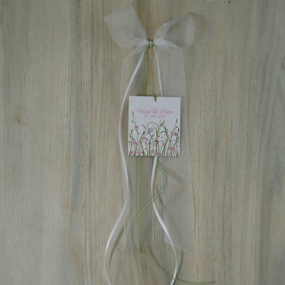 Autoschleife Hochzeitswiese rosa