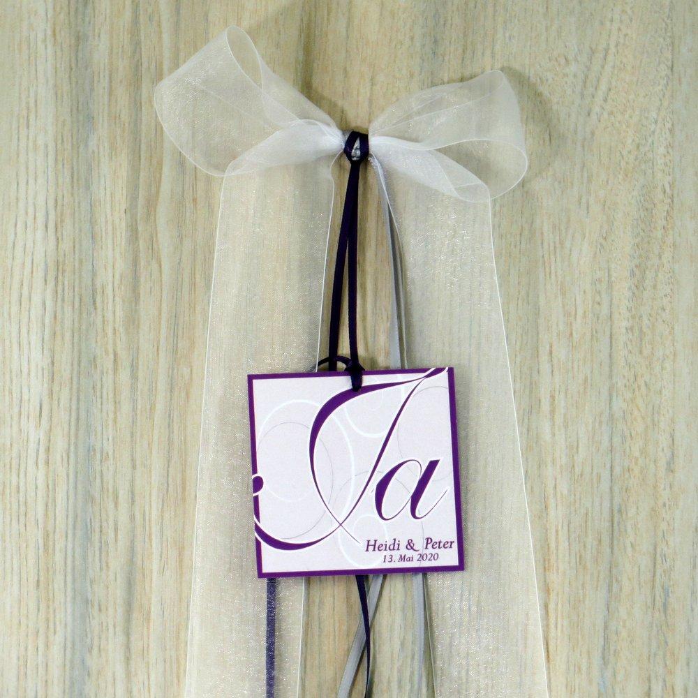 Autoschleife Ja-Wort lila