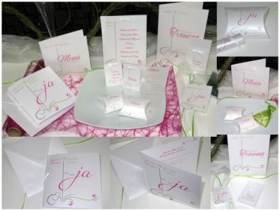 Erlesen und edel wirkt dieses Kartenset mit Ornamenten in pink und grün