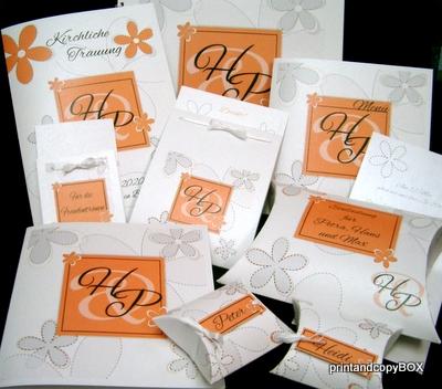 """Hochzeitseinladung """"Blumen"""" orange"""