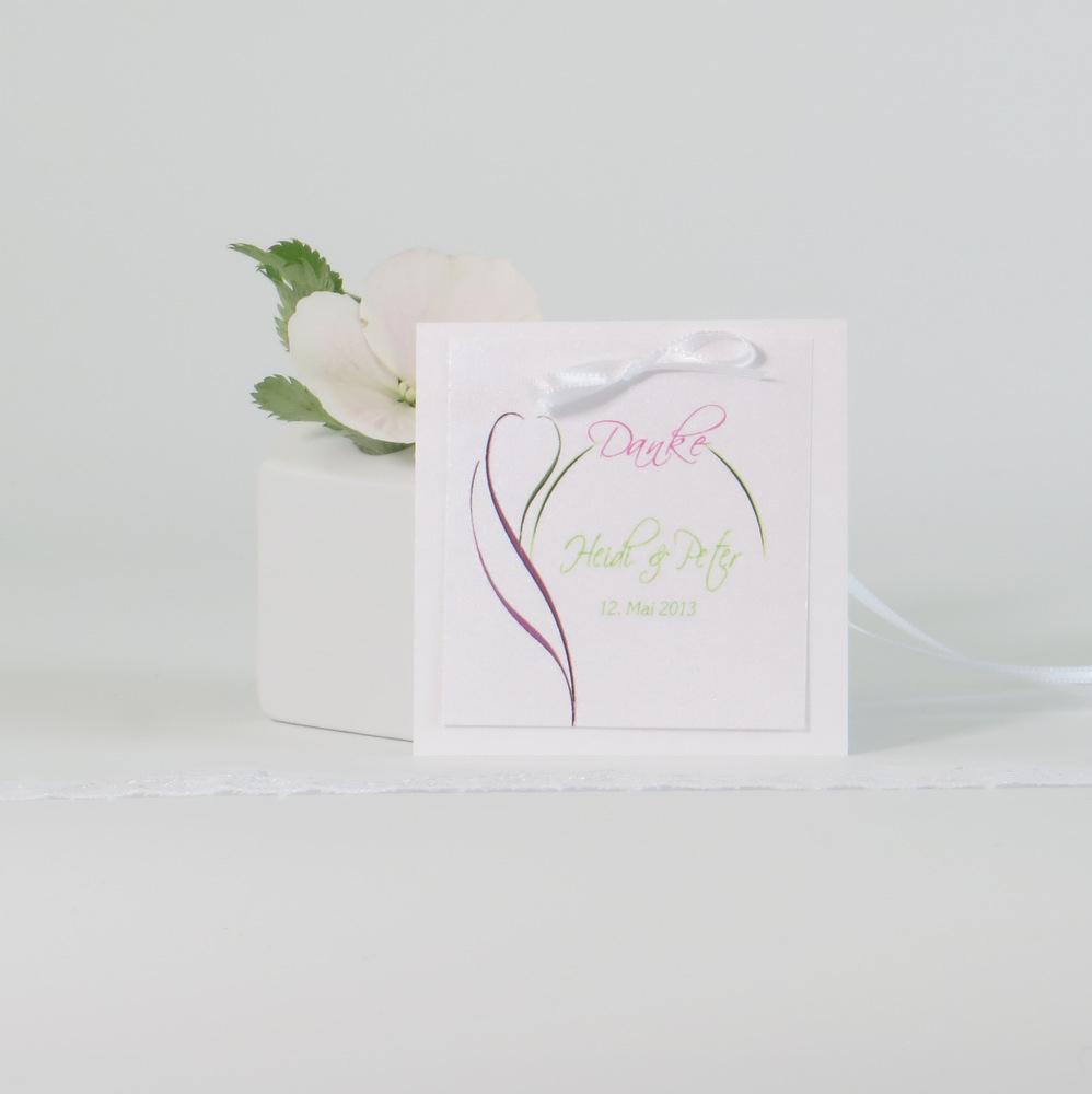 """Dankgeschenkanhänger """"Blüte"""" pink & grün"""