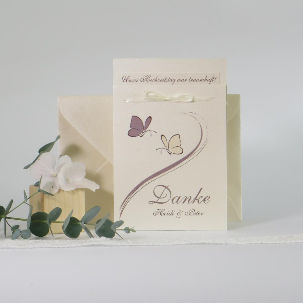 """Danksagung Fototasche """"Schmetterlinge"""" creme&braun"""