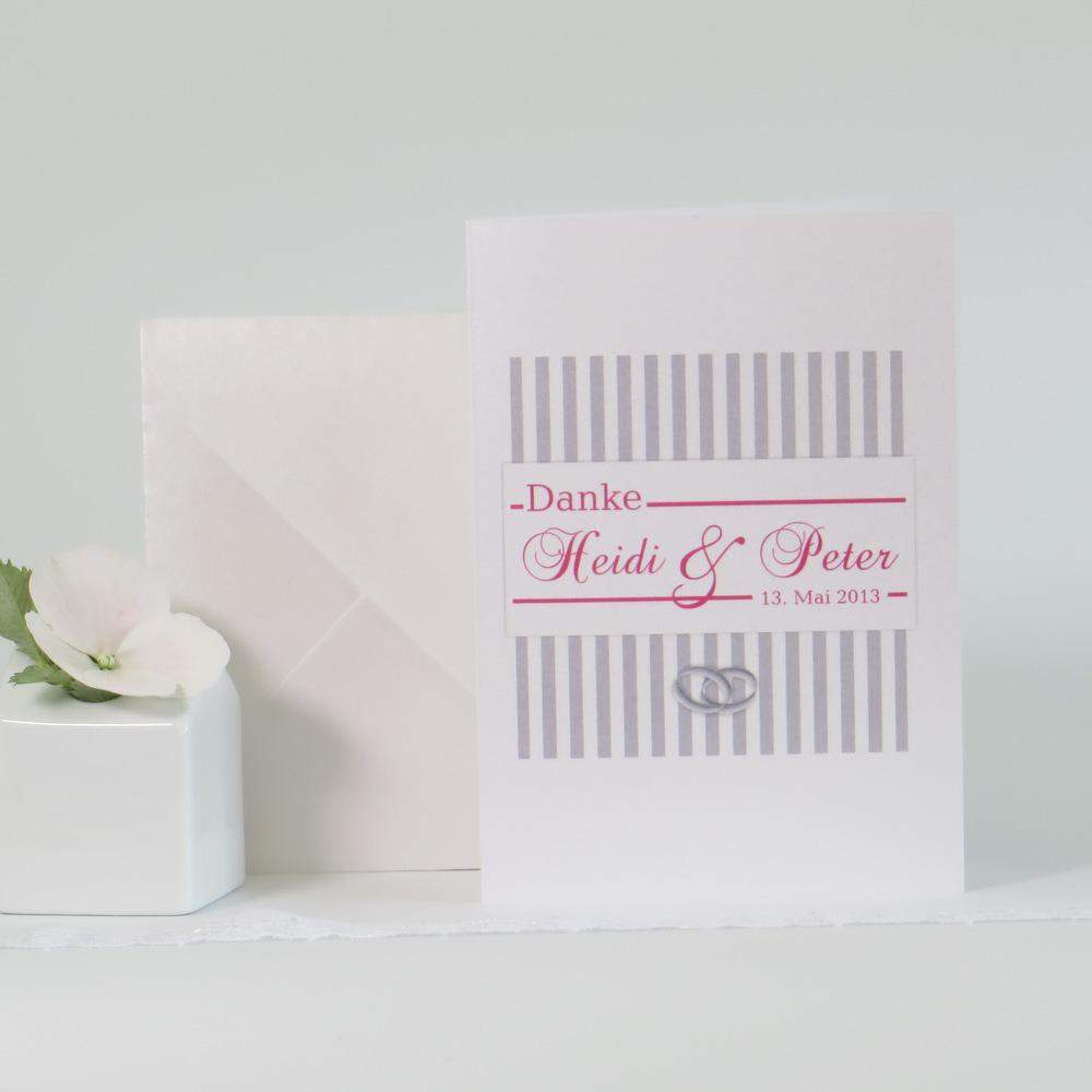 """Danksagungskarte """"Ringe"""" pink & grau"""
