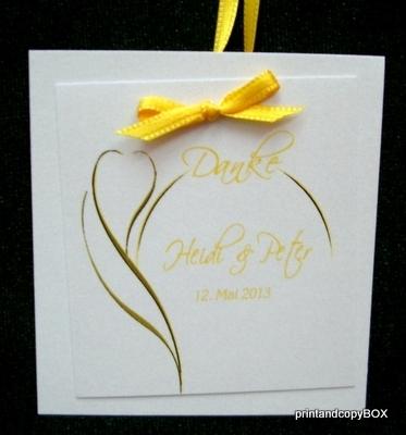 """Dankgeschenkanhänger """"Blüte"""" gelb"""
