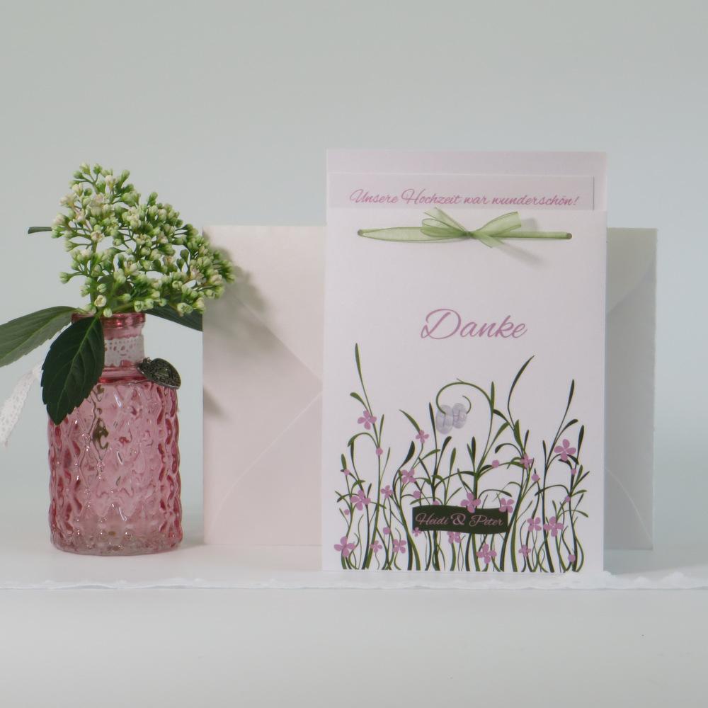 """Danksagung Fototasche """"Hochzeitswiese"""" rose"""