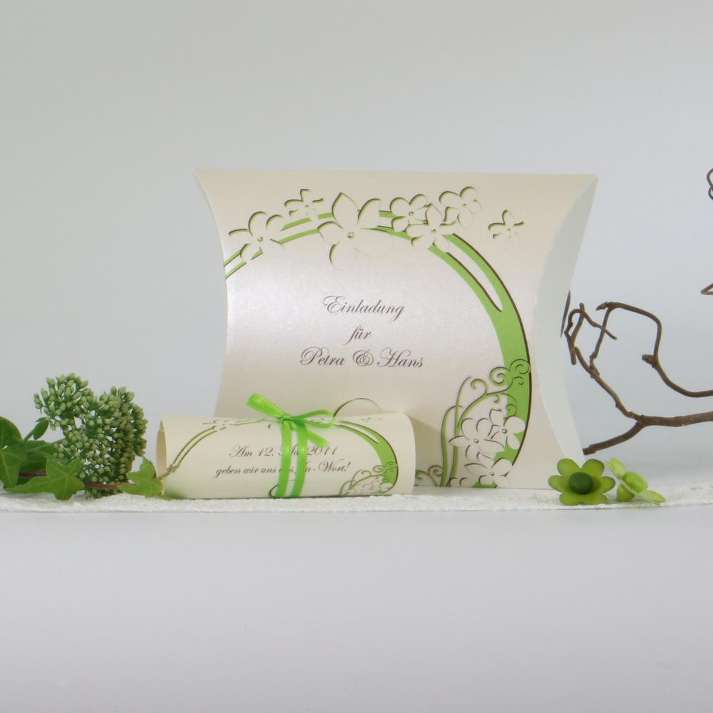 "Einladungsbox ""Flair"" braun-grün"