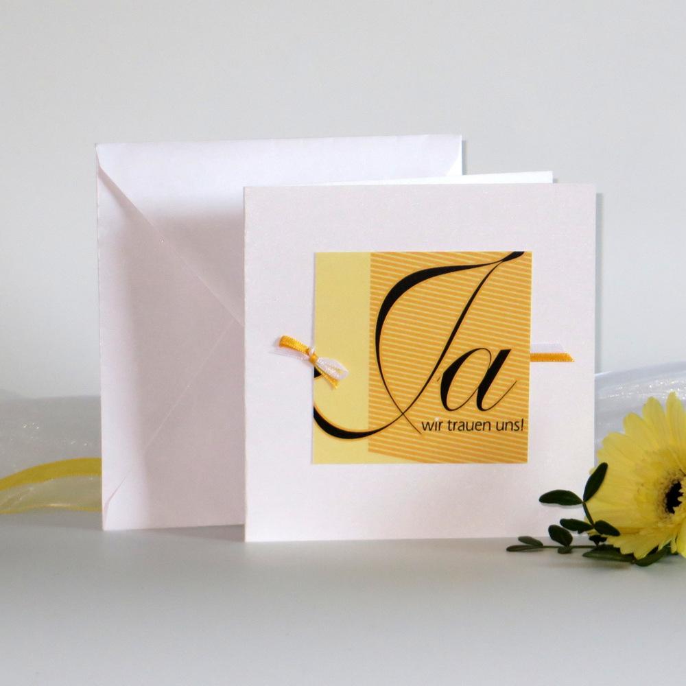 """Hochzeitseinladung """"Akzente"""" gelb"""