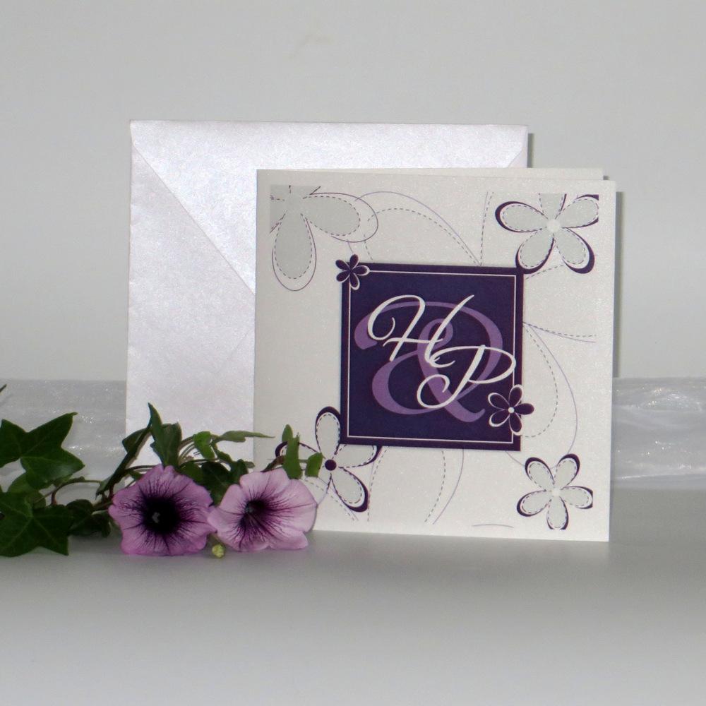 """Hochzeitseinladung """"Blumen"""" lila"""