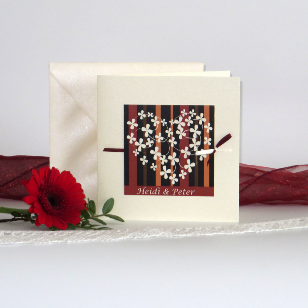 """Hochzeitseinladung """"Blumenherz"""" rot&creme&schwarz-0"""