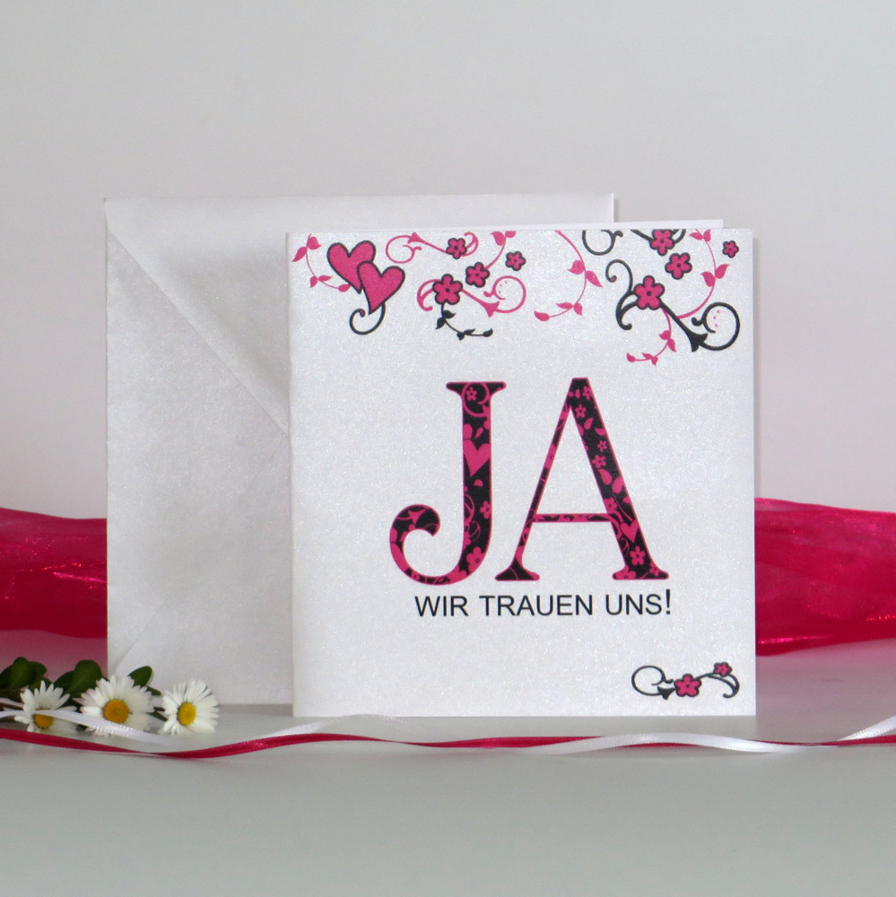 """Hochzeitseinladung """"Blumenornament"""" pink"""