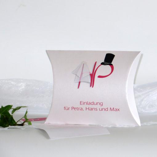 """Hochzeitseinladungsbox """"Brautpaar"""" pink"""