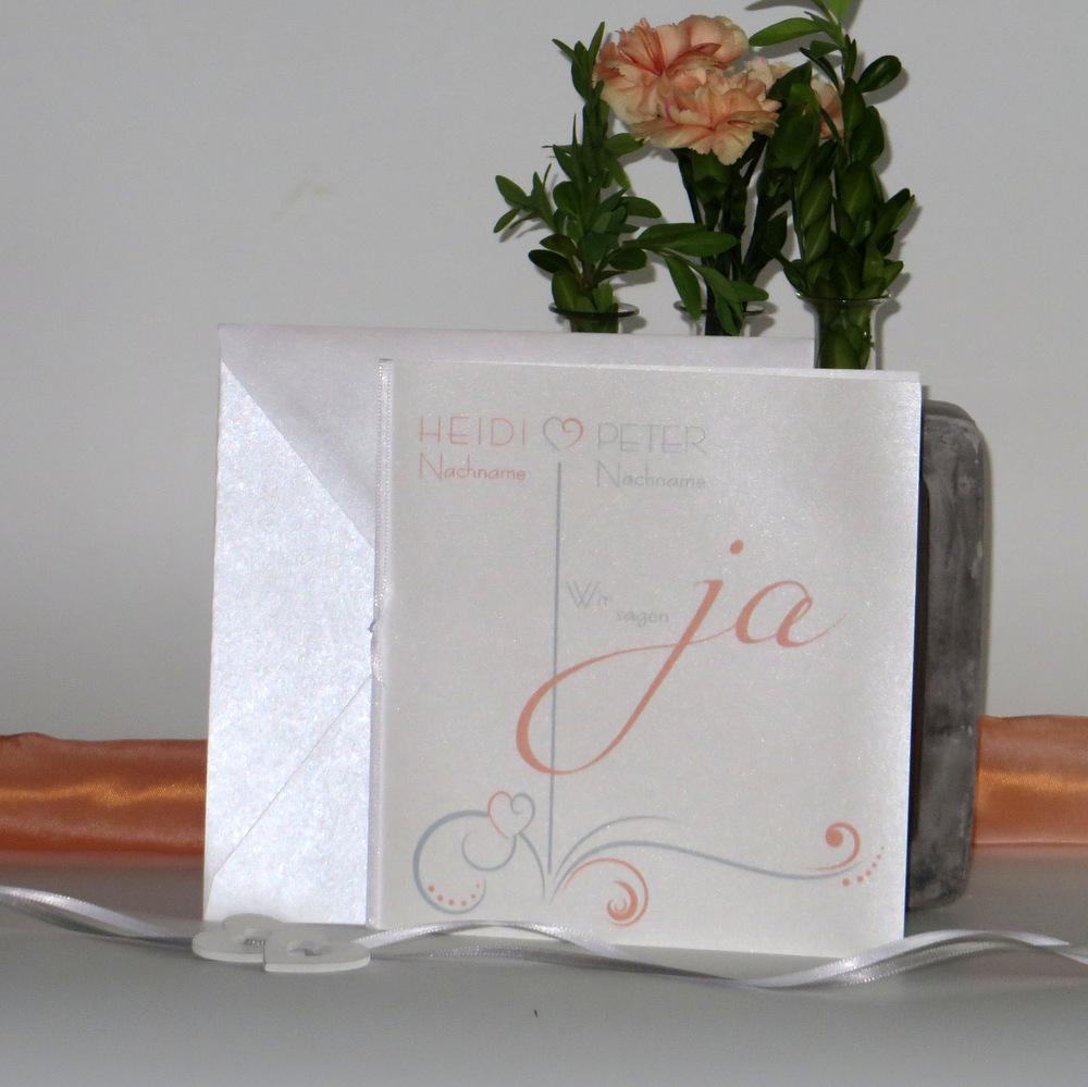 """Hochzeitseinladung """"Design in apricot"""""""