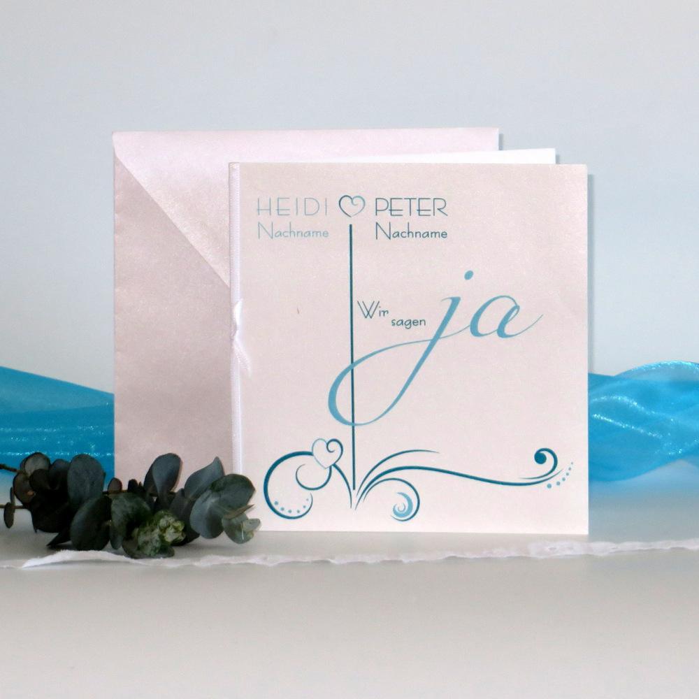 """Hochzeitseinladung """"Design in türkis"""""""