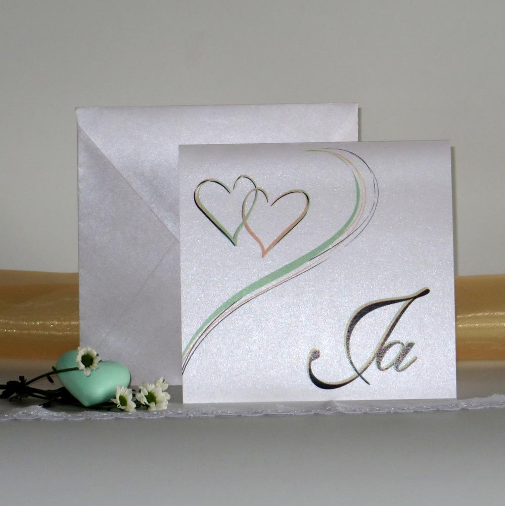 Stilvolle Einladung zu Ihrer Hochzeit. Harmonie in grün & apricot