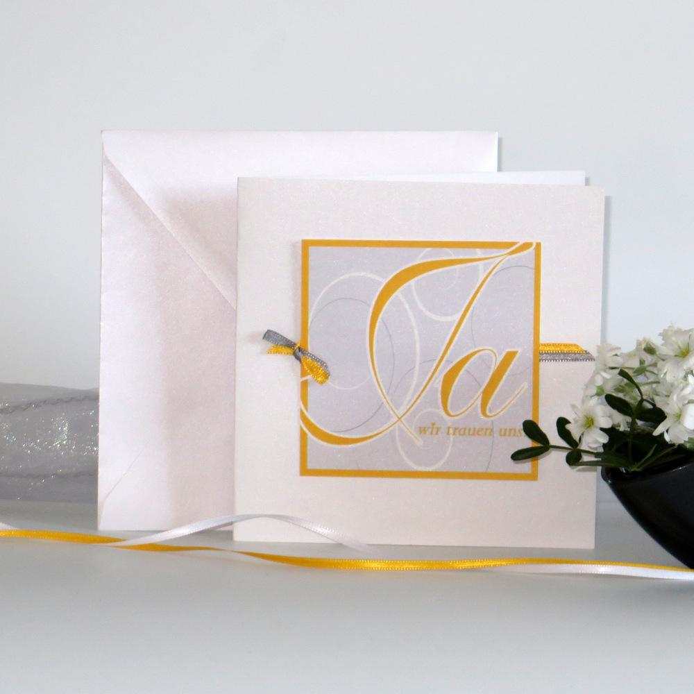 """Hochzeitseinladung """"Ja-Wort"""" gelb"""