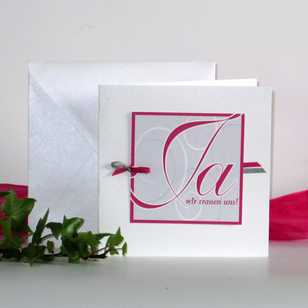 """Hochzeitseinladung """"Ja-Wort"""" pink"""