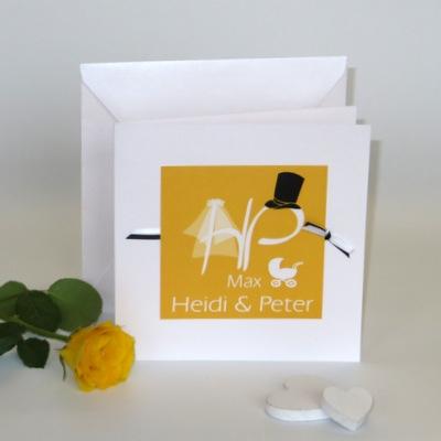 """Einladungskarte Hochzeit mit Taufe """"Brautpaar"""" gelb"""