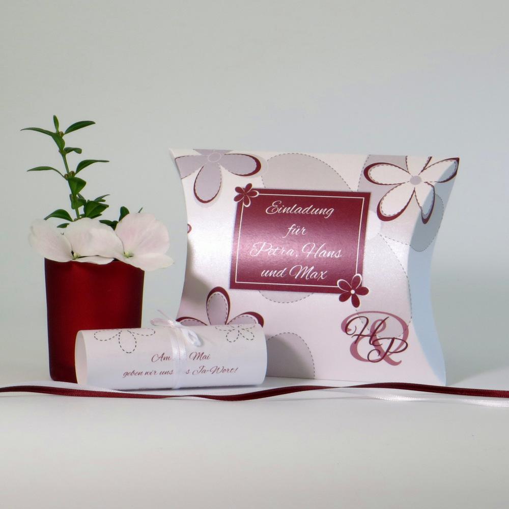"""Hochzeitseinladungsbox """"Blumen"""" bordeaux"""