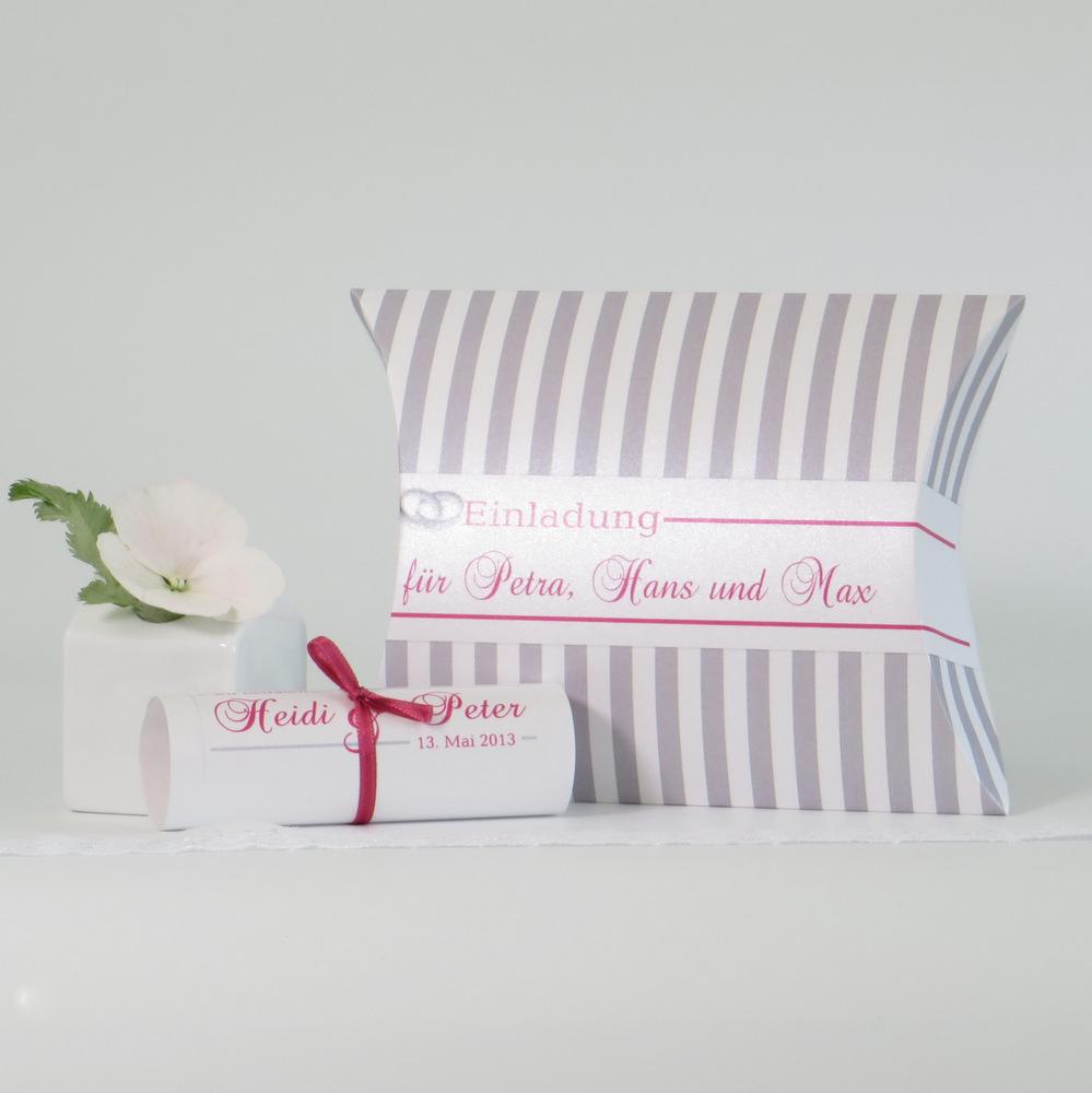 """Hochzeitseinladungsbox """"Ringe"""" pink & grau"""