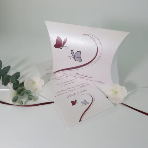 """Hochzeitseinladungsbox """"Schmetterlinge"""" bordeaux&grau"""