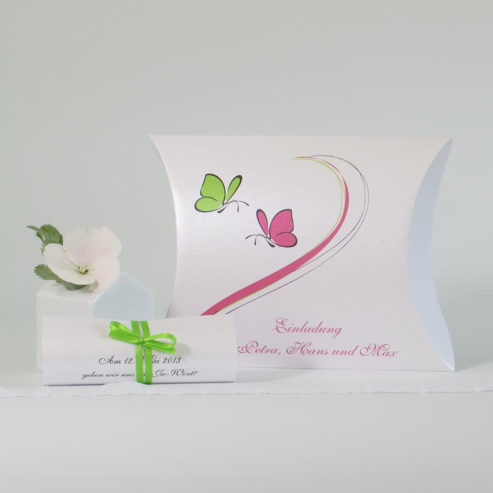 """Hochzeitseinladungsbox """"Schmetterlinge"""" pink&grün"""