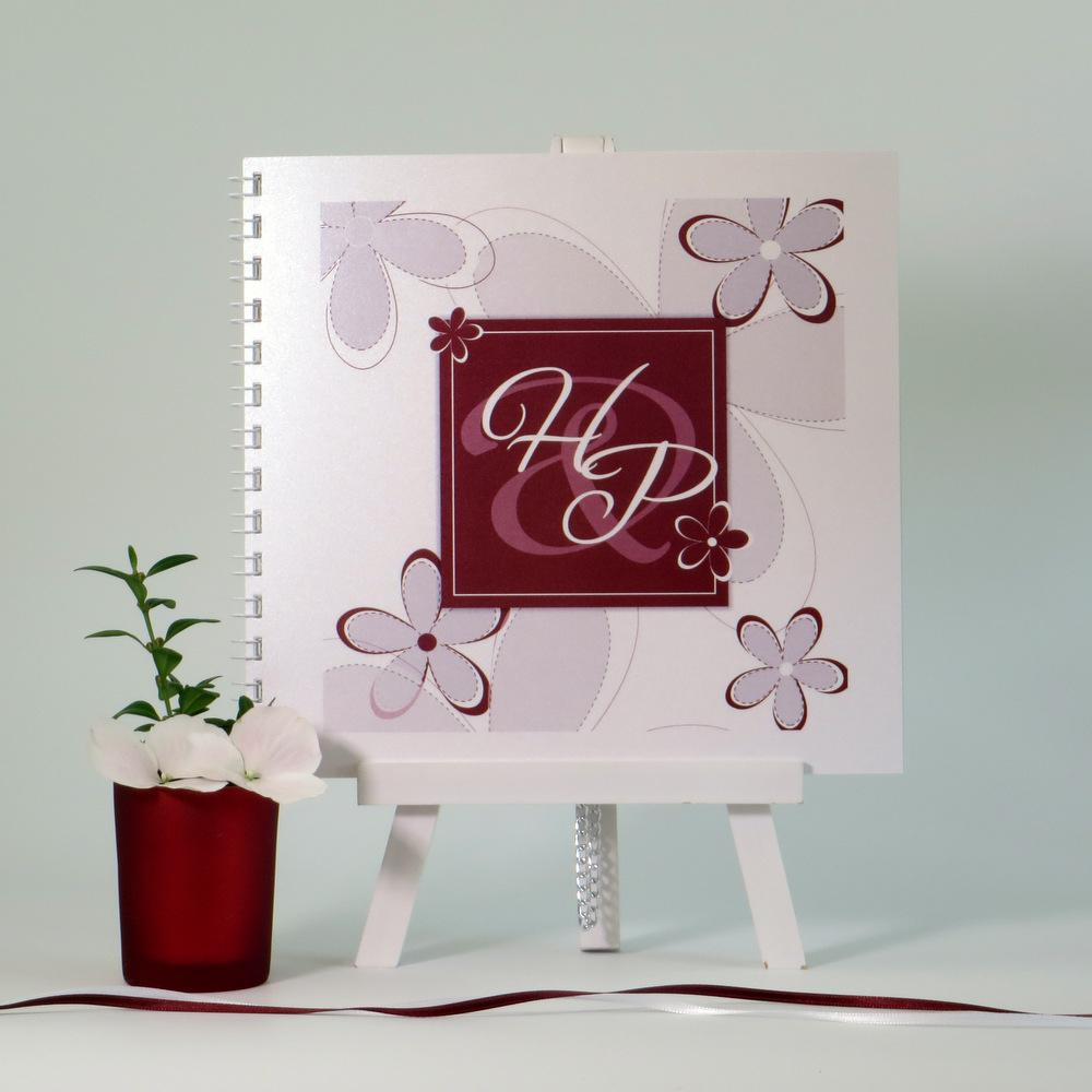 "Gästebuch ""Blumen"" bordeaux"