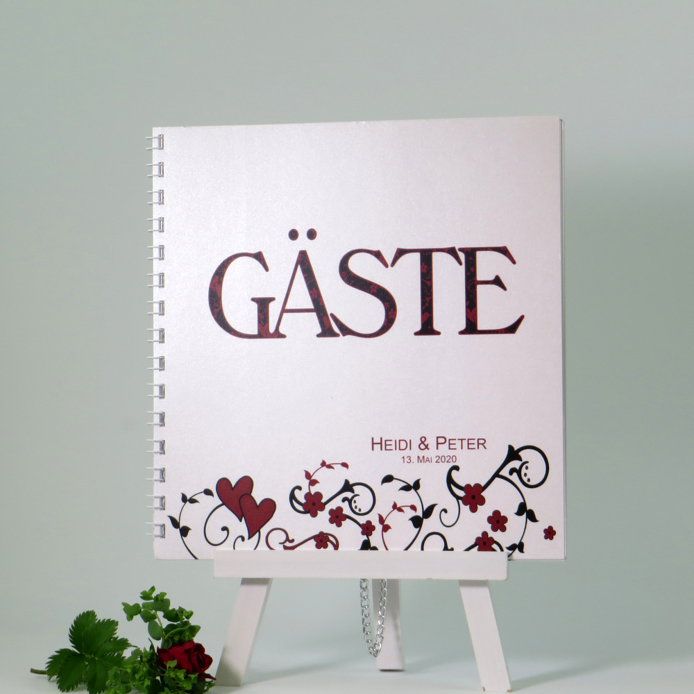 """Gästebuch """"Blumenornament"""" rot"""