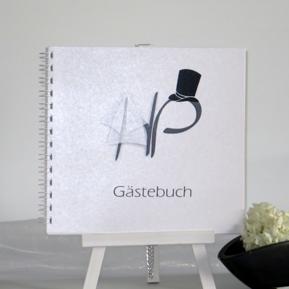 "Gästebuch ""Brautpaar"" grau"