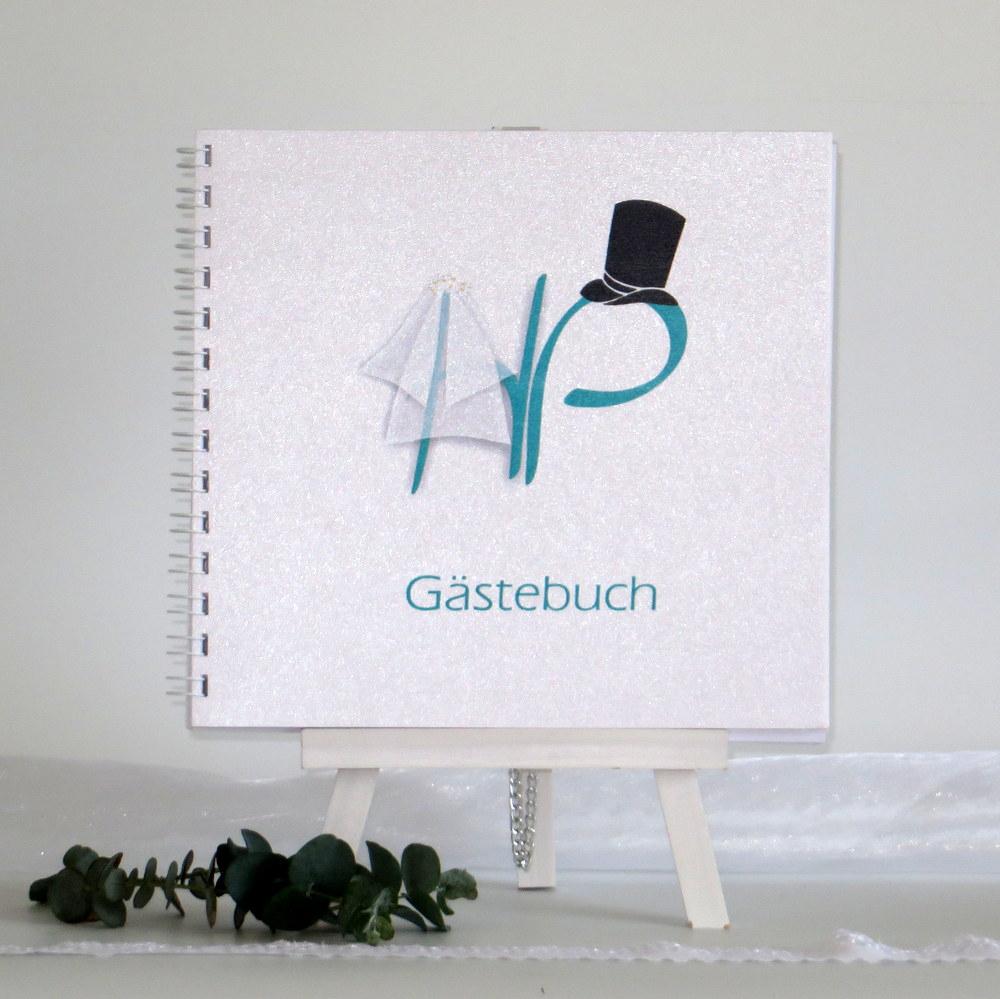 """Gästebuch """"Brautpaar"""" türkis"""