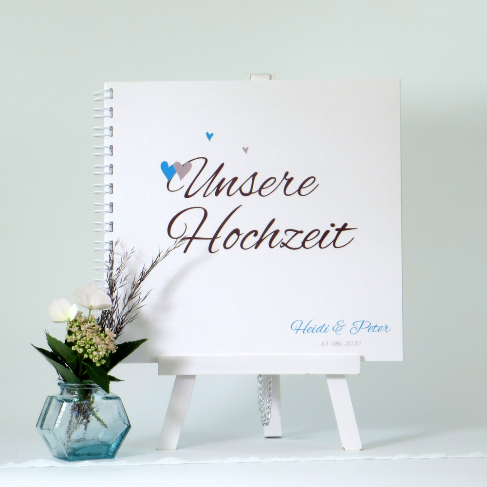 "Gästebuch ""Herzle"" braun & türkis"