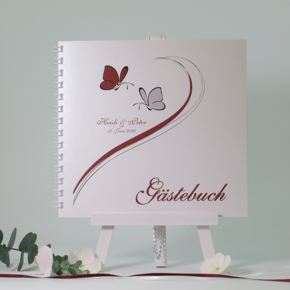 """Gästebuch """"Schmetterlinge"""" bordeaux&grau"""