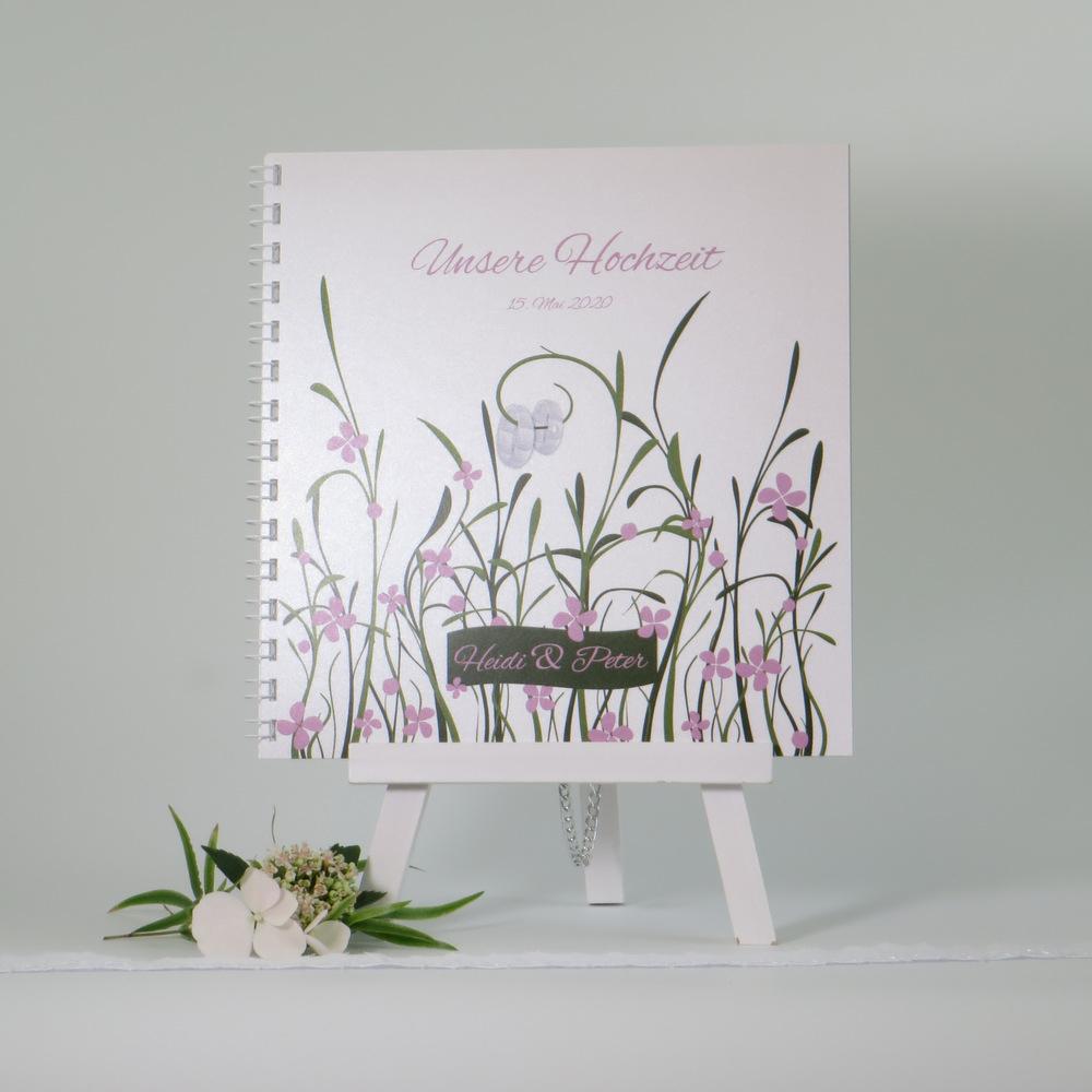 """Gästebuch """"Hochzeitswiese"""" rose"""