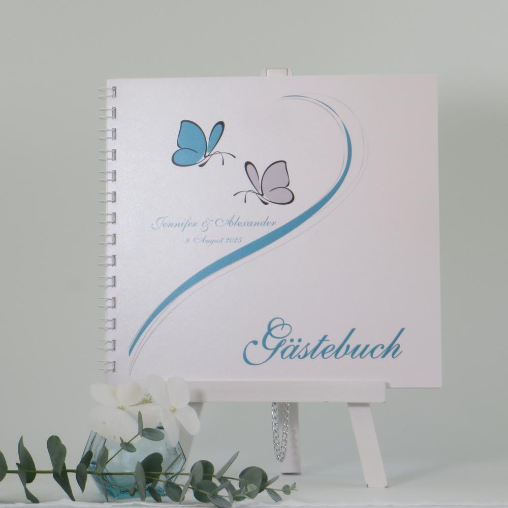 """Gästebuch """"Schmetterlinge"""" türkis"""