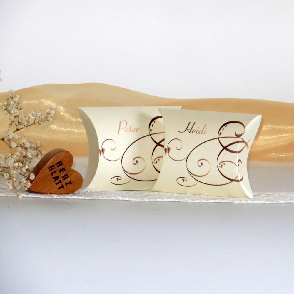 """Gastgeschenk + Tischkarte """"Farbflirt apricot & braun"""""""