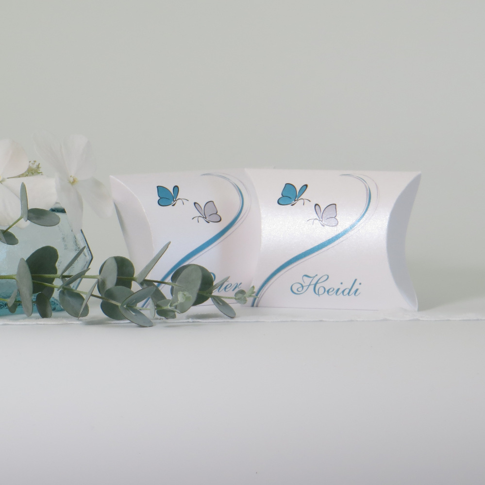 "Gastgeschenk + Tischkarte ""Schmetterlinge"" türkis"