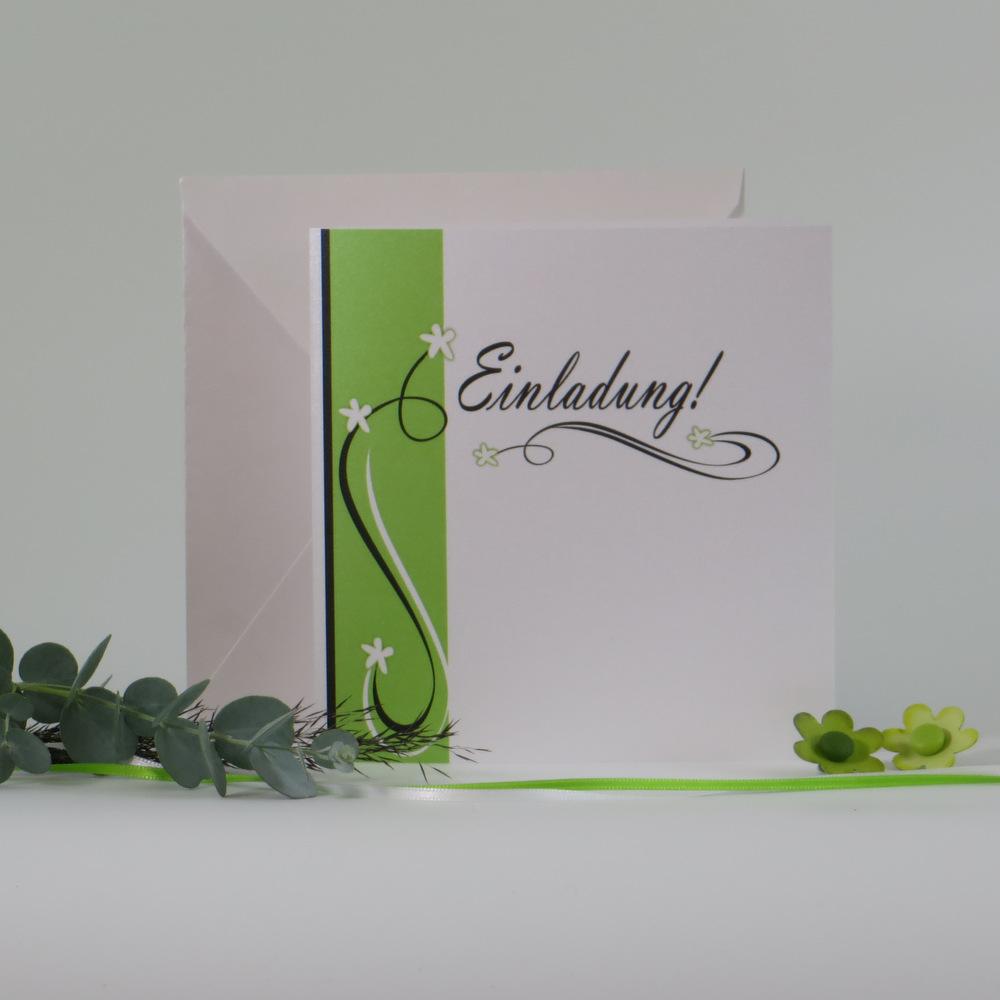 "Einladungskarte ""Trendlines"" grün-grau"