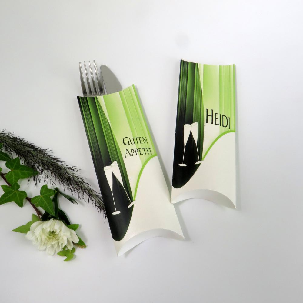 """Bestecktasche """"Sekt elegant"""" grün"""