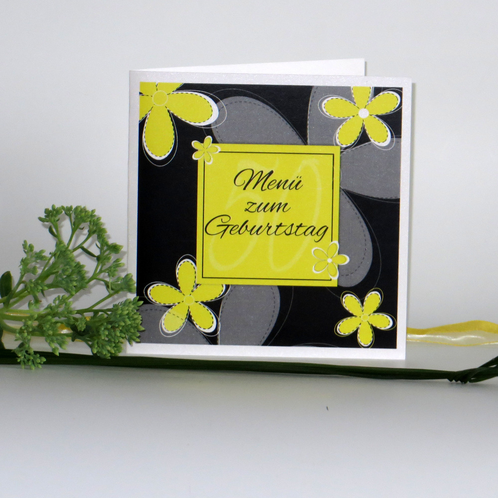 """Geburtstagsmenükarte """"Blumen"""" gelb"""
