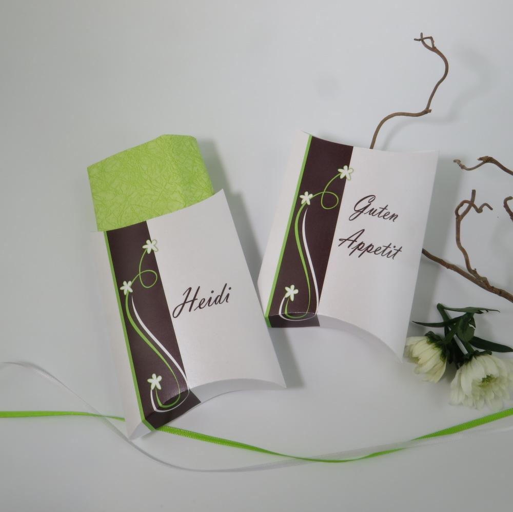 """Serviettentasche """"Trendlines"""" braun-grün"""