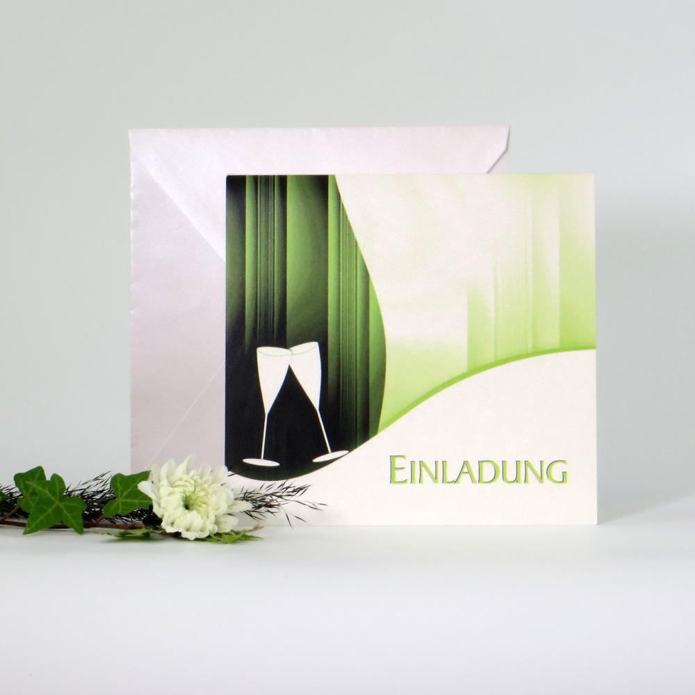 """Einladungskarte """"Sekt elegant"""" grün"""
