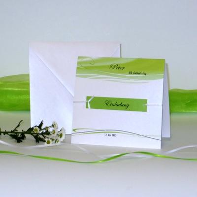 """Einladungskarte """"Band"""" grün"""