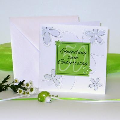 """Geburtstagseinladung """"Blumen"""" grün"""