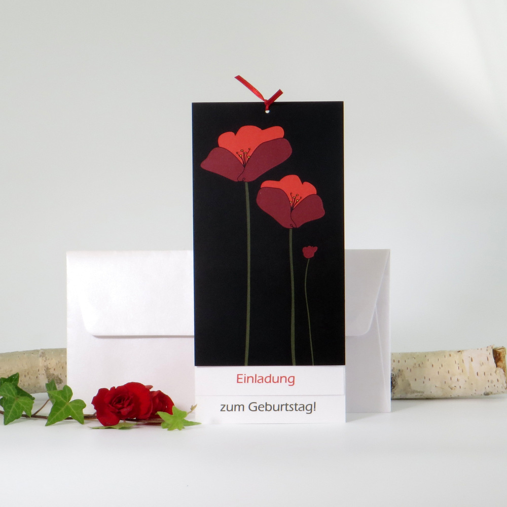 "Einladungskarte ""Mohnblume"" rot"