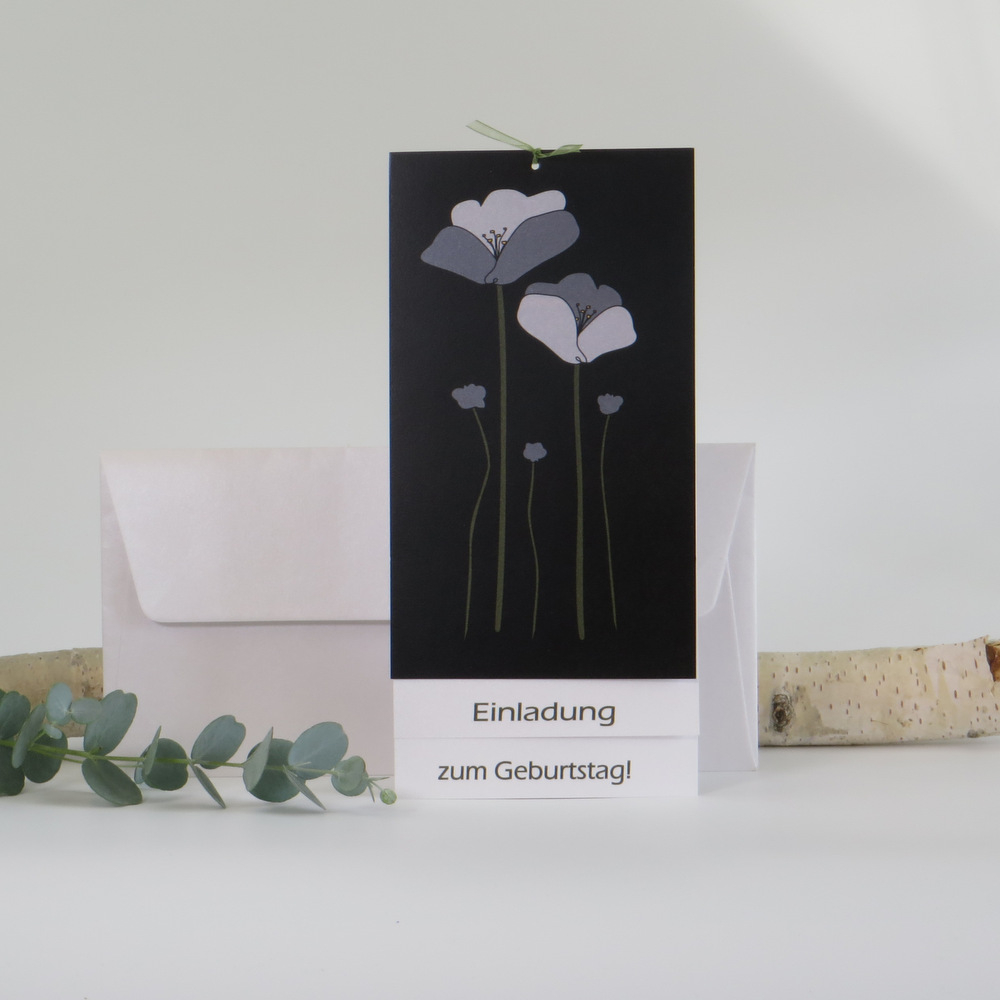 """Einladungskarte """"Mohnblume"""" schwarz-grün"""