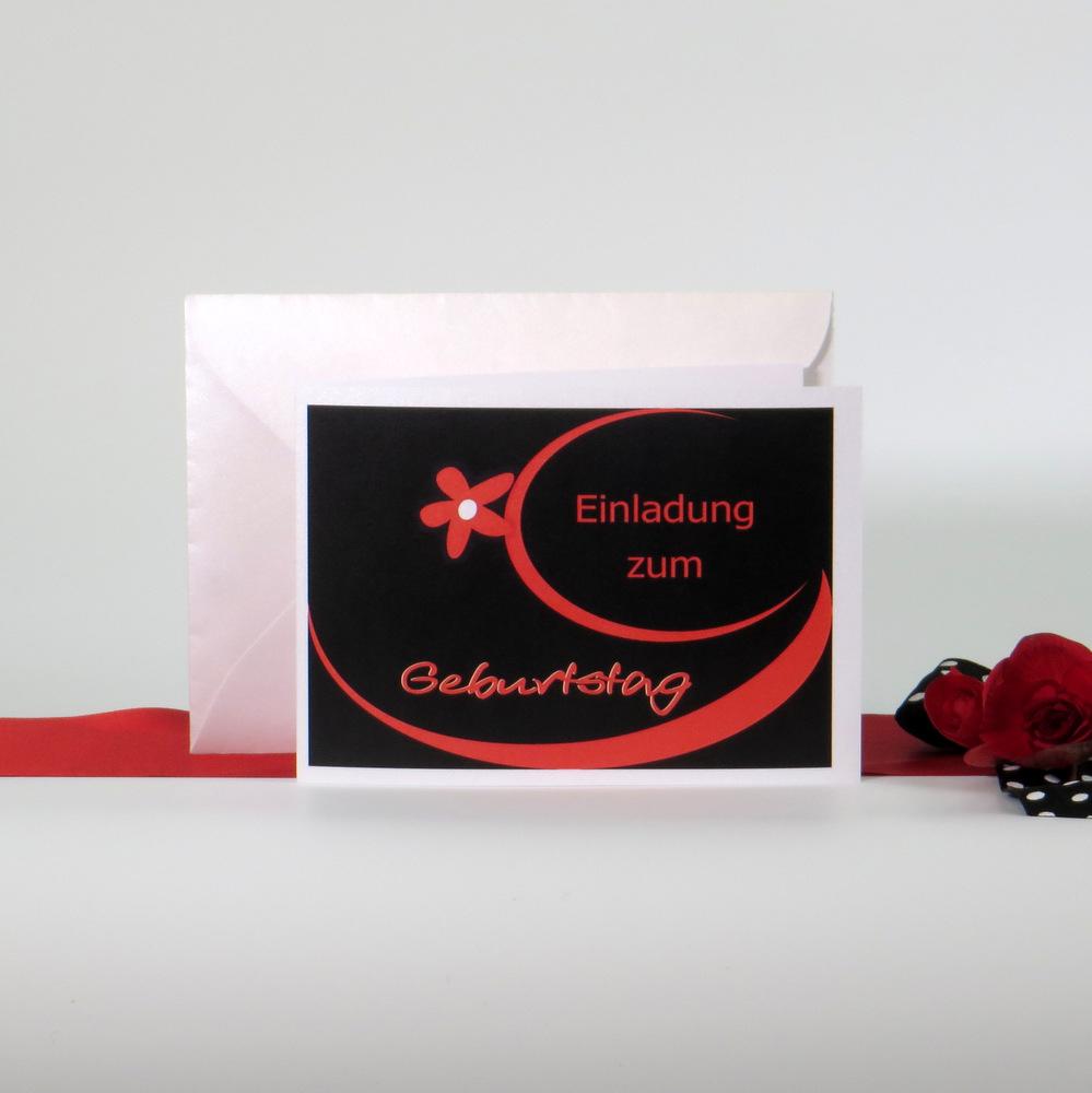 """Einladungskarte """"Red Flower"""""""