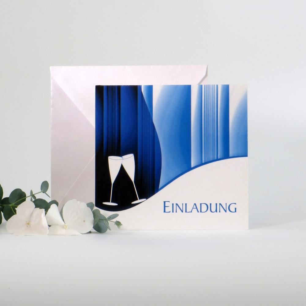 """Einladungskarte """"Sekt elegant"""" blau"""