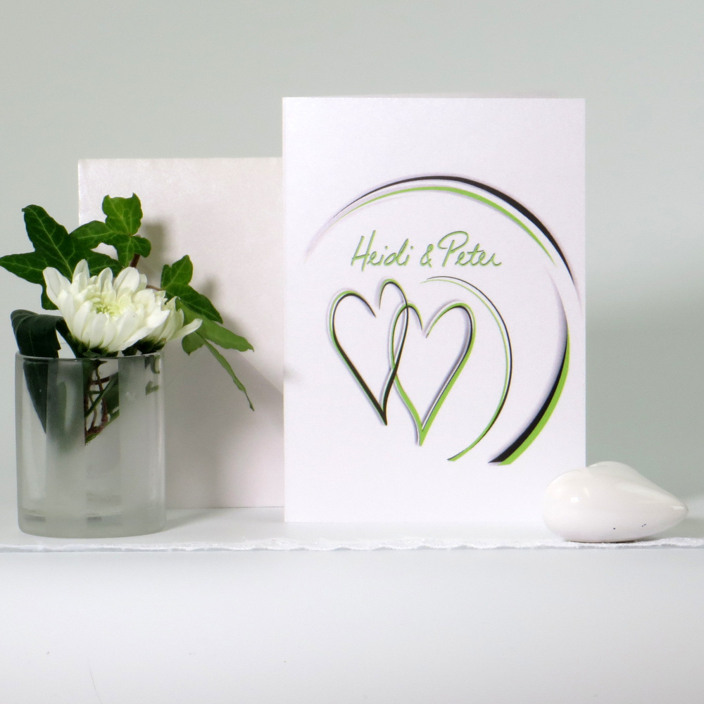 "Danksagungskarte ""Duo"" grün & grau"