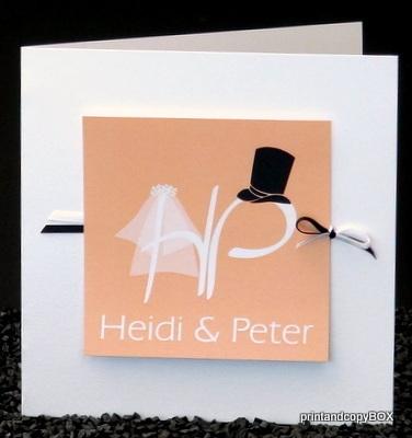 """Hochzeitseinladung """"Brautpaar"""" apricot"""
